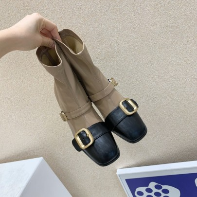 New Short Boots Thick Heel Stretch Square Toe Martin Boots Nihaostyle Clothing Wholesale NSHU69765