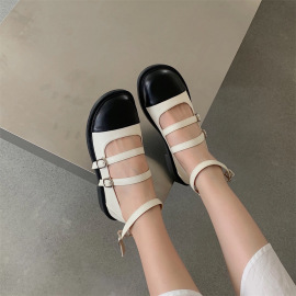 Round Toe Flat Small Leather Shoes Nihaostyle Clothing Wholesale NSHU69791