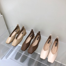 Square Head Soft Leather Low-heel Shoes Nihaostyle Clothing Wholesale NSHU69799
