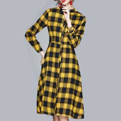 New Temperament Slim Waist Fashion Plaid Dress Nihaostyle Clothing Wholesale NSJIM70001