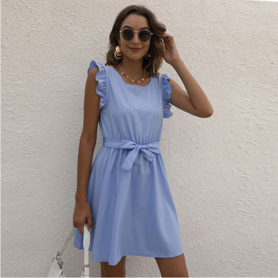 Solid Color Round Neck Waist Dress Nihaostyle Clothing Wholesale NSJC69996