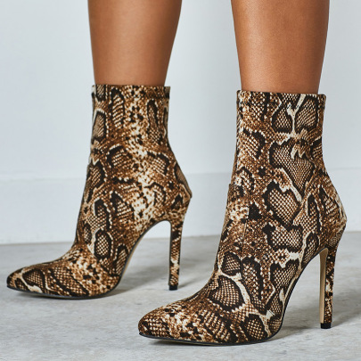 Snake Print High-heel Pointed Boots Wholesale Clothing Vendor Nihaostyles NSSO69834