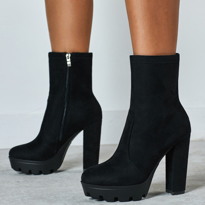 Martin Thick High-heeled Boots Wholesale Clothing Vendor Nihaostyles NSSO69835