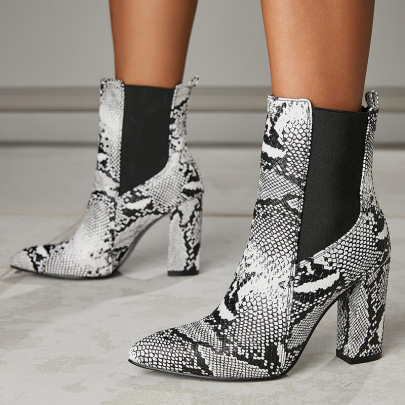 Snake Print Elastic Thick High-heeled Short Boots Wholesale Clothing Vendor Nihaostyles NSSO69854