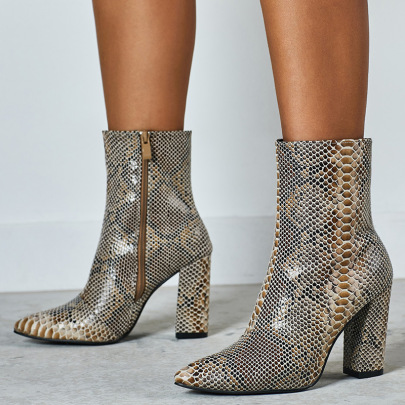 Snake Print Pointed Thick High-heel Boots Wholesale Clothing Vendor Nihaostyles NSSO69858