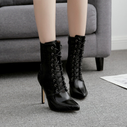 Snake Print Front Lace-up Pointed Boots Wholesale Clothing Vendor Nihaostyles NSSO69859