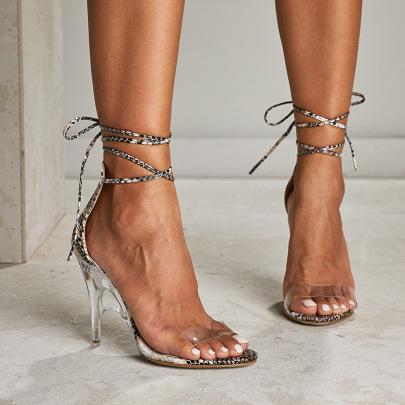 Snake Print Open Toe Straps Sandals Wholesale Clothing Vendor Nihaostyles NSSO69873