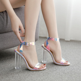 Crystal Heel Phantom Color Thick High-heeled Sandals Wholesale Clothing Vendor Nihaostyles NSSO69874