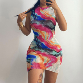 New Sleeveless Package Hip Sexy Mesh See-through Color Tie-dye Vest Dress Wholesale Nihaostyle Clothing NSXPF69885