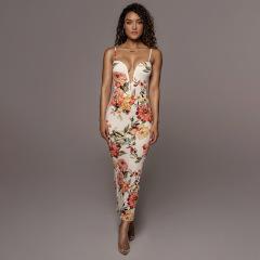 sling deep V bag hip slim printed long dress wholesale clothing vendor Nihaostyles NSXPF69892