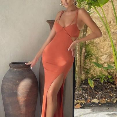 Solid Color Open Back High Slit Sling Long Slim Dress Wholesale Clothing Vendor Nihaostyles NSXPF69896