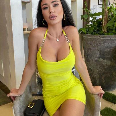 Sexy Backless Halter Neck Lace Slim Dress Wholesale Clothing Vendor Nihaostyles NSXPF69902