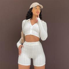 solid color long-sleeved lapel T-shirt high-waist shorts set wholesale clothing vendor Nihaostyles NSXPF69905