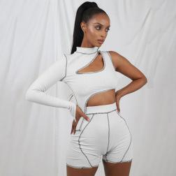 Irregular One-shoulder Long-sleeved Waistless T-shirt Slim Shorts Reverse Wear Set Wholesale Clothing Vendor Nihaostyles NSXPF69906