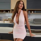 Vestido Delgado Halter De Color Liso Vendedor De Ropa Al Por Mayor Nihaostyles NSXPF69954