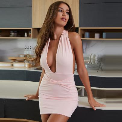 Plain Color Halter Slim Dress Wholesale Clothing Vendor Nihaostyles NSXPF69954