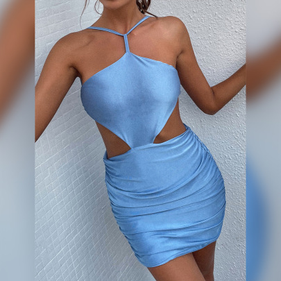 Summer Women's New Halter Neck Lace Sleeveless Hollow Dress Wholesale Nihaostyle Clothing NSXPF69955