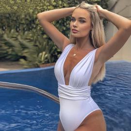 Summer Women's Sexy Deep V Pleated Sling Slim Swimsuit Wholesale Nihaostyle Clothing NSXPF69973