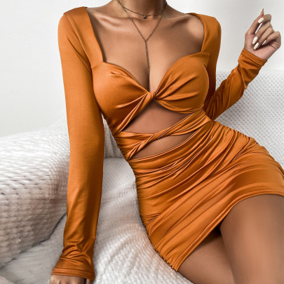 Autumn And Winter Long-sleeved Sexy Deep V Hollow Tie Pleated Dress Wholesale Nihaostyle Clothing NSXPF69974