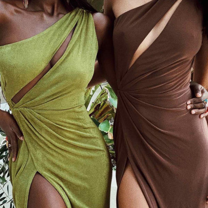 Autumn New Pure Color Slanted Shoulder Hollow Fold Sexy Split Long Dress Wholesale Nihaostyle Clothing NSXPF69976