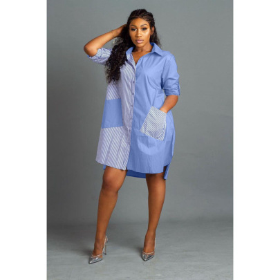 Women's Fashion Striped Stitching Long Shirt Dress Nihaostyle Clothing Wholesale NSFNN70037