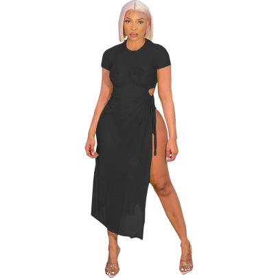 Perspective High Slit Sexy Dress Nihaostyle Clothing Wholesale NSFNN70059