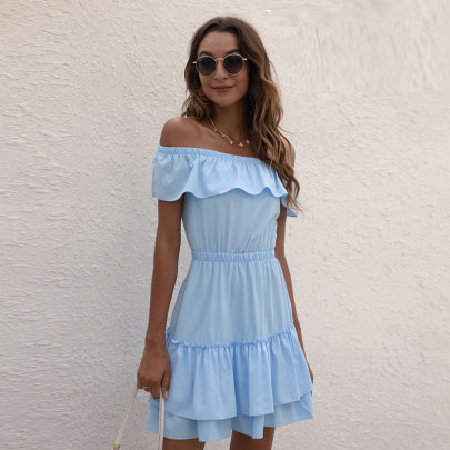 One-neck Ruffled Waist Dress Wholesales Nihaostyle Clothing NSJC70083