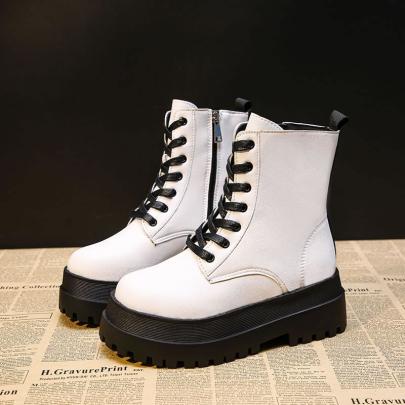 Platform Lace-up Leather Boots Short Boots Nihaostyle Clothing Wholesale NSYUS70088