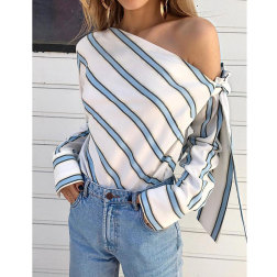 New simple fashion slanted shoulder strap striped shirt nihaostyle clothing wholesale NSJIM70084