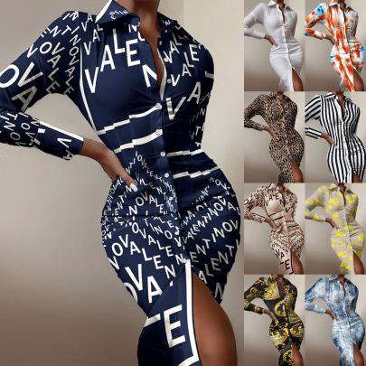 New Long-sleeved Waist Printed Shirt Dress Wholesales Nihaostyle Clothing NSYF70100