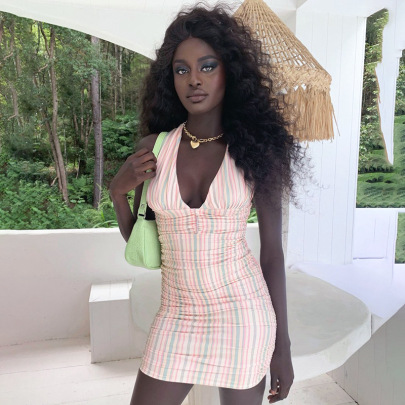 Pullover Hanging Neck Striped Halter Mid-waist Dress Wholesales Nihaostyle Clothing NSSWF70162