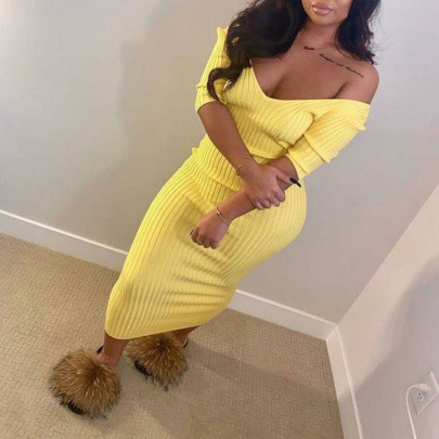 Mid-length Solid Color Hedging V-neck Pit Strip Dress Wholesales Nihaostyle Clothing NSXPF70312