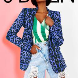 Leopard Print Lapel Slim Cardigan Blazer Wholesales Nihaostyle Clothing NSXPF70313