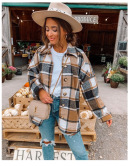 Long-sleeved Lapel Loose Plaid Shirt Mid-length Jacket Wholesales Nihaostyle Clothing NSXPF70316