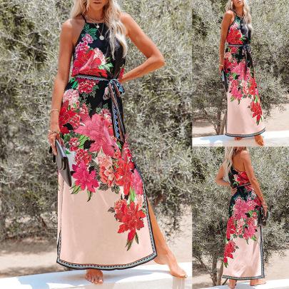 Printed High Waist Lace Halter Dress Wholesales Nihaostyle Clothing NSXPF70325