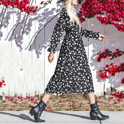 Round Neck Long-sleeved Floral Tie Mid-length Long-sleeved Dress Wholesales Nihaostyle Clothing NSJR70371