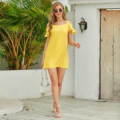 Sling Pure Color Short Cool Fashionable Off Shoulder Dress Wholesales Nihaostyle Clothing NSJR70375