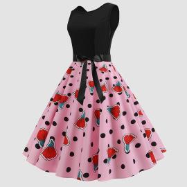 Polka Dot Printing Stitching Round Neck Waist Slim Sleeveless Dress Wholesales Nihaostyle Clothing NSJR70377