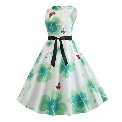 Waist Slimming Printed Big Swing Sleeveless Dress Wholesales Nihaostyle Clothing NSJR70378