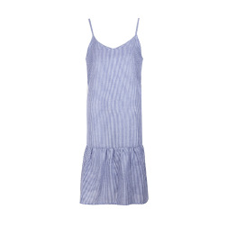 Blue Striped Loose Casual Sling Dress wholesales nihaostyle clothing NSJR70381