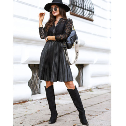 New Splicing Lace Long-sleeved Waist Dress Nihaostyle Clothing Wholesale NSJIM70633