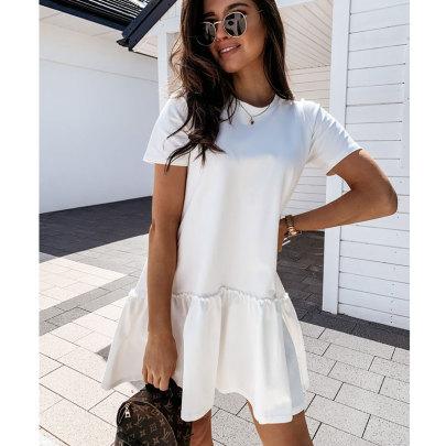 Summer New Round Neck Ruffle Dress Nihaostyle Clothing Wholesale NSJIM70632
