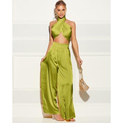 Women's Fashion Tube Top Wide-leg Pants Suit Nihaostyles Clothing Wholesale NSXPF70515