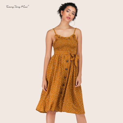 Slim Sling Polka Dot Lace-up Dress Nihaostyles Clothing Wholesale NSJR70576