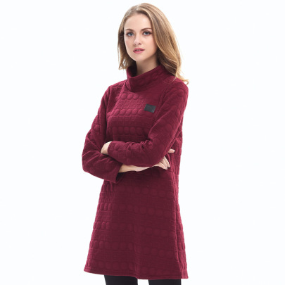 Spring And Autumn High-neck Solid Color Long-sleeved Dress Nihaostyles Clothing Wholesale NSJR70577