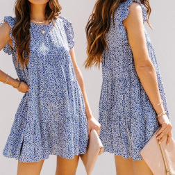 Round Neck Short-sleeved Floral Loose Dress Nihaostyles Clothing Wholesale NSJR70584