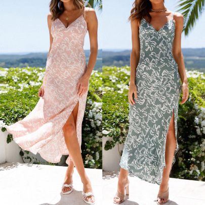 Summer Sling Split Printed Long Skirt Dress Female Nihaostyles Clothing Wholesale NSJR70585