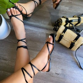 Summer New Flat Square Head Strap Sandals Nihaostyle Clothing Wholesale NSJJX70648