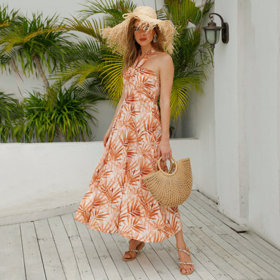 Nihaostyle Clothing Wholesale Summer New Women's Sexy Off-shoulder Hanging Neck Dress NSJR65696
