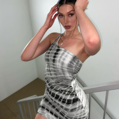Nihaostyle Clothing Wholesale Summer New Sexy One-shoulder Sleeveless Dress NSJYF65769